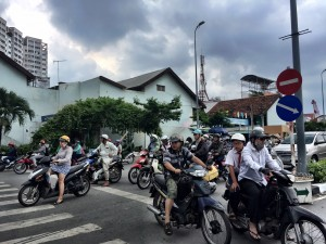 Crossing the street in Saigon sure isn't a simple task!