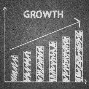 growth chart concept written on blackboard